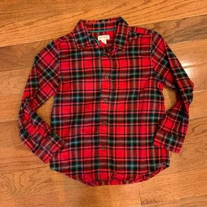Cat & Jack Boy Red Plaid Flannel Button-Up Shirt